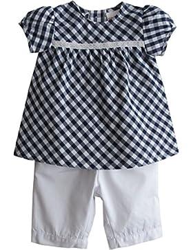 Schnizler Mädchen Bekleidungsset 2 Tlg. mit Karierter Bluse Tunika und Capri Hose