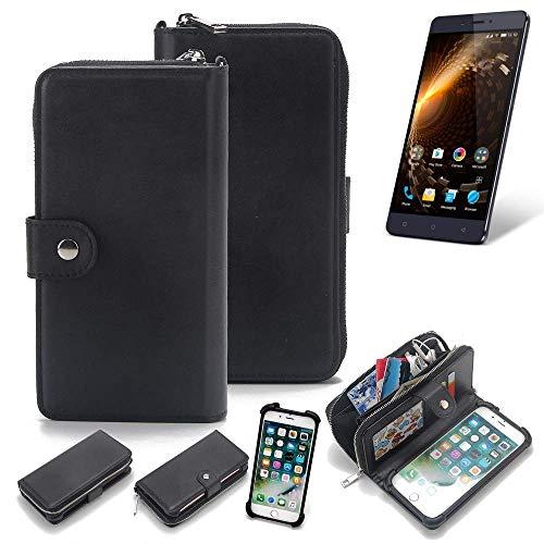 K-S-Trade 2in1 Handyhülle für Allview P9 Energy Lite Schutzhülle & Portemonnee Schutzhülle Tasche Handytasche Case Etui Geldbörse Wallet Bookstyle Hülle schwarz (1x)
