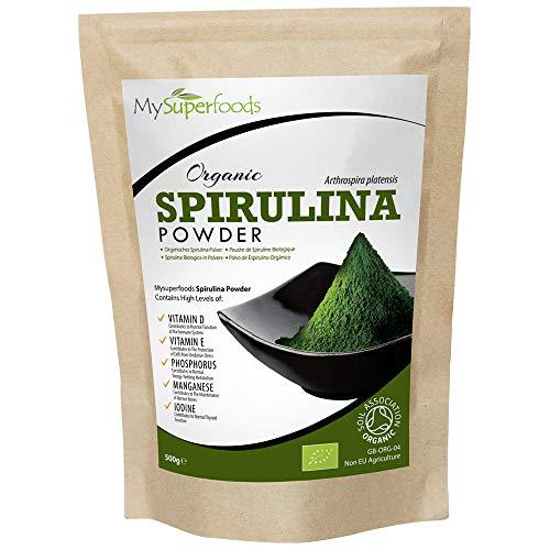 Spirulina Pulver Bio (500g), MySuperFoods, Vollgepackt mit Protein, Kalzium und Vitaminen, Nährstoffreich, Höchste Qualität verfügbar, Zertifiziert von der Soil Association