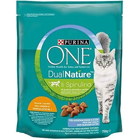 PURINA ONE Dual Nature Katzenfutter trocken mit Spirulina, reich an Huhn, (1 x 750g)