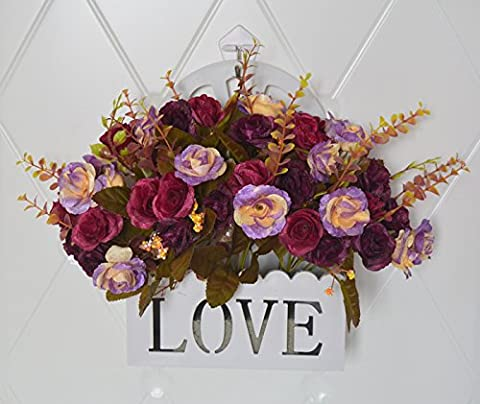 Hctina artificielle peintures à l'huile des roses d'intérieur Décoration murale à suspendre Panier de fleurs Fleur,