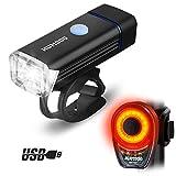 HUMGOO LED Fahrradbeleuchtung, Fahrradlicht Set Frontlicht und Rücklicht Fahrradlampen, USB Aufladbare 1200 mAh Wiederaufladbarem Akku IPX8 Wasserdicht Stoßfest 180Lux LED Fahrradlampe