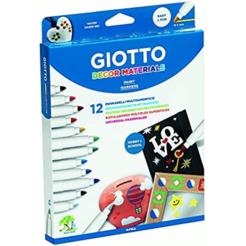mas dibujos kawaii Giotto Decor Materials - Estuche 12 rotuladores decorativos multisuperficie, tinta base agua