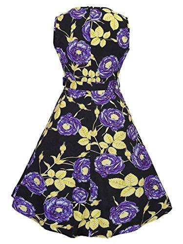 Feoya - Femme Robe Longue Sans Manche Col rond été Vintage 50s Années Cérémonie Soirée Party de Cocktail Style - Rose Modèle - Bleu/Rose/Violet - Taille M/L/XL/XXL Violet