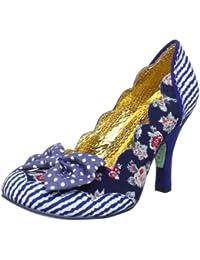 Irregular Choice Beach Trip - Zapatos de tacón mujer,  azul marino/floral, 38 EU (5 UK)