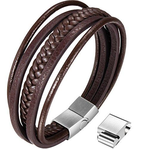 Ostan - 316L acero inoxidable y cuero gótico pulseras con enlace de extensión de hombres - nueva moda joyería brazaletes