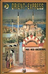 Affiche métallique avec motif paris orient express train style rétro inscription istanbul