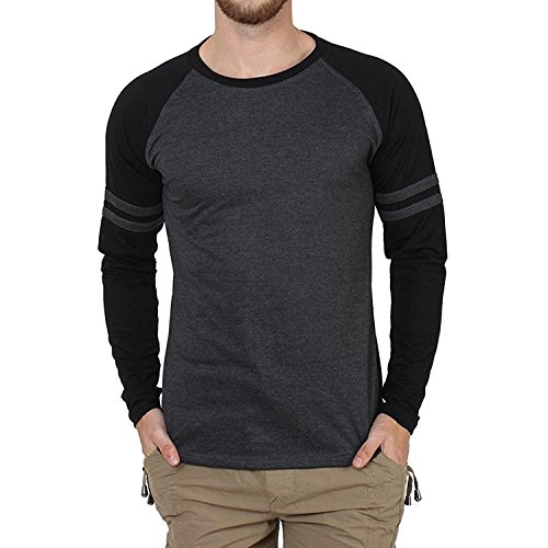 Style Shell Men's Raglan Full Sleeve Cotton T-Shirt (Black Melange, Medium)