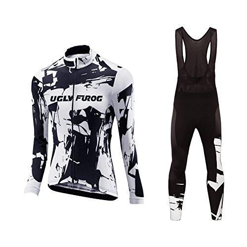 Uglyfrog Damen Neue Women Langarm Radsport Jersey Road Bike MTB Top + Lange Hose mit Gel PAD Langarm Winter with Fleece Bike Set -