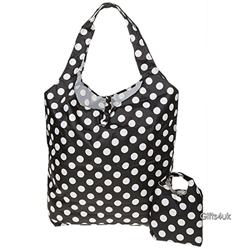 stylish-handybag-re-usable-folding-eco-shopping-bag-various-colours-styles-white-black-polka-dots