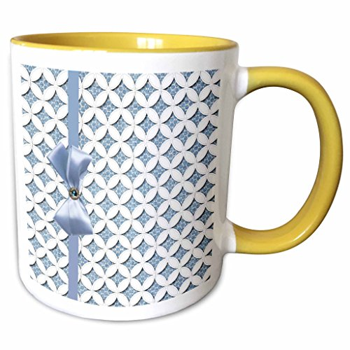 3dRose mug_179326_8 Blue Cathedral Window Quilt Design with Ribbon, Bo Keramiktasse keramik Gelb/Weiß (Ribbon Blue Quilts)