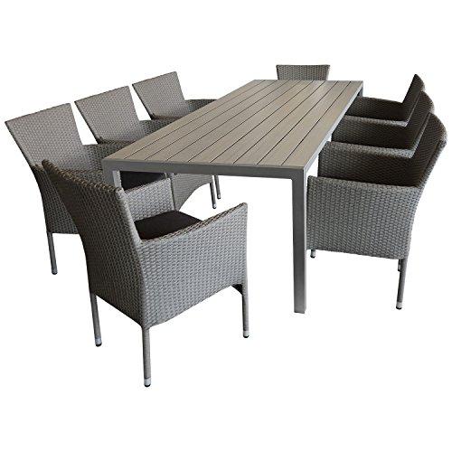 9tlg. Sitzgruppe Gartengarnitur Terrassenmöbel Gartenmöbel Set - Gartentisch, 205x90cm, Polywood-Tischplatte grau + 8x Sessel, Poly Rattan, stapelbar, grau-meliert, inkl. Kissen