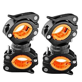 Ladepe 2 Stücke 360   ° Lampenständer Fahrrad Taschenlampe Clip Scheinwerfer Halterung Feste Halterung Auto Clip Mountainbike Reitausrüstung Zubehör