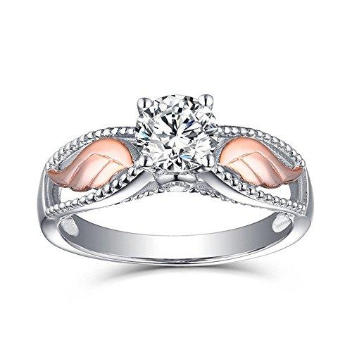Engel Flügel Farbe Ring Rose Gold plattiert YunYoud vorsteckring verlobungsring titanringe vergoldete stahlringe billige holzringe doppelring echtschmuck hochzeitsringe steinringe