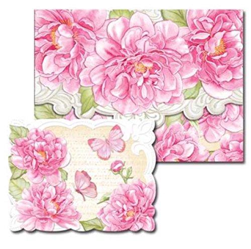 Pictura Sienna 's Garden Geprägte Folie Portofolio Box Note Karten, Rosa Pfingstrose, 10ct - Geprägte Klappe