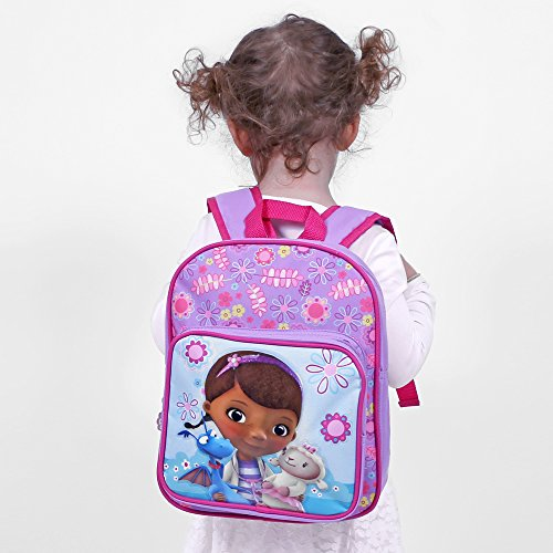 Petit Sac à dos pour Enfants Docteur La Peluche - Cartable scolaire avec poche avant avec Dr. La Peluche - Sac d'école pour le jardin d'enfants - Violet - 30x24x12 cm