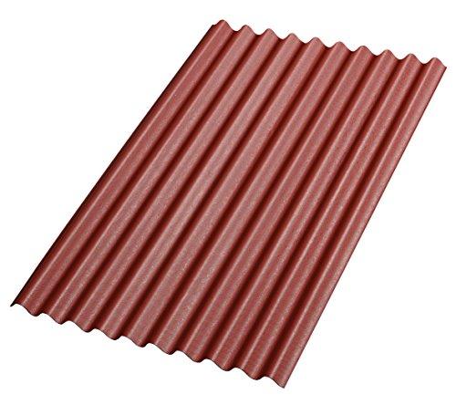 Bitumenwellplatten Set rot Compact: 8 Stück je 1000 x 750 mm und 200 Dachnägel verzinkt mit Dichtscheiben 2,8 x 70 mm