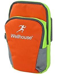 Wellhouse Authorized Unisex Phone Holder Outdoor Running Sports Arm Bag Orange
