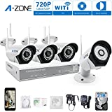 A-ZONE Home Security Camera Systems 4CH 960P Video Recorder 4 x IP Camera 720P 1.0MP Wirelss CCTV Outdoor Wireless Security Cameras for Home Wifi, QR