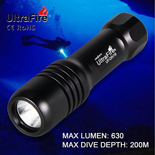 Ultrafire Torcia Subacquea LED Torcia Immersione 200 m 630 Lumen Torcia Professionale Torcia Portatile,XM-L2 Luminoso LED Dive luce Torce Subacquea Per Attività Sportive all' aperto Sotto l' acqua