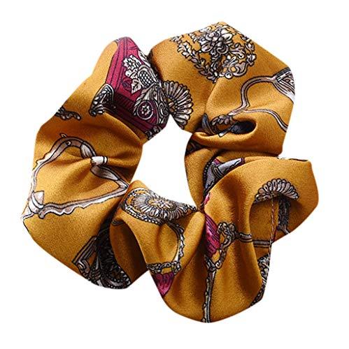 Damen Elastisches Stirnbänder, TTWOMEN Seil Ring Blumendruck Headwrap Twist Knoten Haarband Scrunchie Turban Haar Zubehör (Gelb)