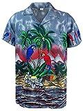 Funky Camicia Hawaiana, Parrot, Grigio, S