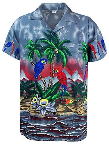 V.H.O. Funky Hawaiihemd, Kurzarm, Papagei, Grau, -