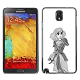 schwer Beschützer Prämie Slim Dünn Schutz Hülle Tasche Slim Case Armor PC Aluminium Spiegel Fü Samsung Note 3 N9000 N9002 N9005 /Warrior Princess Art Drawing Sword Pencil/ STRONG