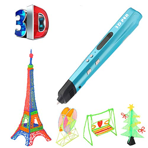 LZX Penna Di Stampa 3D, Sicura E Facile Da Usare Penna 3D Con Schermo LCD, Adatta Per Bambini, Penna Disegno 3D, Ricarica Filamento Pla A 20 Colori (Blu)