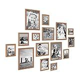 PHOTOLINI 15er Set Landhaus-Bilderrahmen Eiche-Optik Massivholz Größen 10x10 10x15 13x18 20x20 20x30 cm inkl. Zubehör