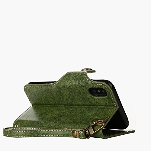 YHUISEN iPhone X Fall, Luxus Retro Rose Premium PU Leder Magnetverschluss Flip Wallet Schutzhülle mit Lanyard für iPhone X (2017) ( Color : Khaki ) Green