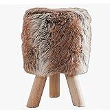 Design Fellhocker SIT Sitzhocker mit braunem Fell und Teakholz rund braun Fellimitat