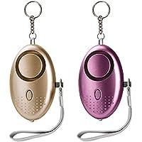 Taschenalarm 130 db Persönlicher Alarm Schlüsselanhänger Panikalarm Selbstverteidigung Sirene für Frauen Kinder (Gold und Lila 2 Stücke)