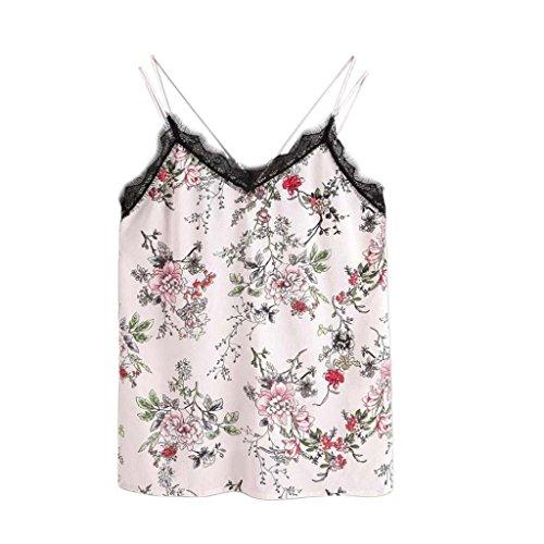 VENMO Frauen Blumen Lässige ärmellose Crop Top Weste Tank Shirt Bluse Cami Top (S, White) -