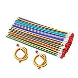 JTDEAL Lapices Flexibles con Gomas De Borrar(30 Piezas), Lapices Magicos Ninos, Hace Un Nudo y Se Dobla Rayas Colores, Regalos Cumpleanos Color Aleatorio