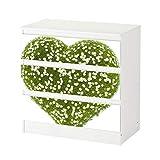 Set Möbelaufkleber für Ikea Kommode MALM 3 Fächer/Schubladen Herz Blumen Liebe grün Kamilie weiß abstrakt Aufkleber Möbelfolie sticker (Ohne Möbel) Folie 25C1239, Kommode 3 Fächer:Kommode 3 Fächer