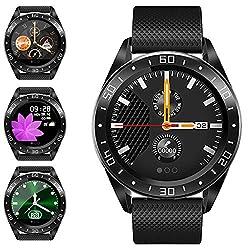 jpantech Smartwatch, Fitness Armband Tracker Voller 5ATM Wasserdicht Smart Watch Intelligente Aktivitäts Uhr Sportuhr, Damen Herren Pulsmesser Schlafmonitor für Android iOS(Schwarz)