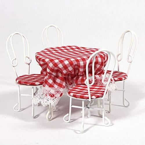 Dolls House Miniatur Maßstab 1: 12. Weiß Draht Tisch & Stühle mit Tisch Tuch (Draht Tuch)