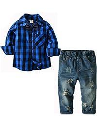 [Bekleidungsset Junge Kinder] Karohemd mit Fliege + Jeanshose Baumwolle Kleinkinder Set Gentleman Baby Anzug Freizeit und Festlich