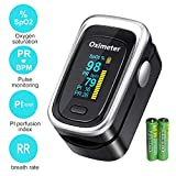 Finger Pulse Oximeter, Fingertip Blood Oxygen Saturation Monitor | with Heart Rate, Sleeping Monitoring, Pulse Rate, Respiratory Rate, Blood Perfusion Index (Includes Batteries and Lanyard)