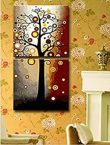Hot Sell 2 Panneaux peinture Arbre Décoration murale Home Decor Art-Peinture sur toile - 20 X 40 cm - 24 X 48 cm