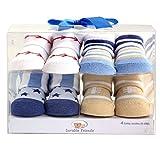 Luvable Friends Baby Boys 4 Piece Novelty Socks Gift Set