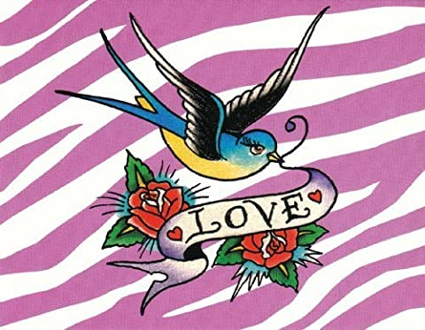 Ed Hardy Set of 8 Embossed Blank Note Cards and 8 Coordinating Envelopes Bluebird with Love Banner and Roses by Ed Hardy