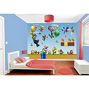 kinderzimmer wandaufkleber super mario bros luigi dekoration sticker 70x50cm. Black Bedroom Furniture Sets. Home Design Ideas