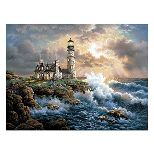 Qiman Seaside House 5D Cross Stitch DIY 5D Diamond Painting Full Kits,DIY Crystal Rhinestone Embroidery Pictures Arts Craft For Home Wall Decor -