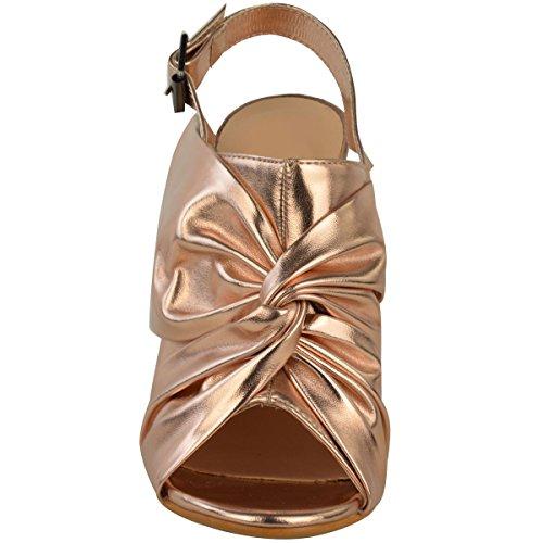 donna apertura sul retro Sandali Tacchi alti a spillo punta aperta nodo Scarpe NUMERO GB rosa dorato metallizzato