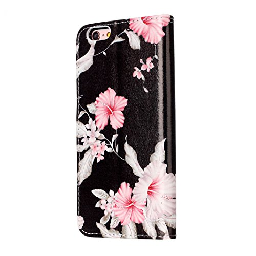iPhone 6 Case Leder, iPhone 6S Case Leder, iPhone 6 Bumper Hülle, Moon mood® Ledertasche für Apple iPhone 6/6S (4.7 Zoll) , PU Leder Cover Hülle Folio Handyhülle Gemalt Muster Premium Bumper Tasche Ba Schwarz Rote Blume