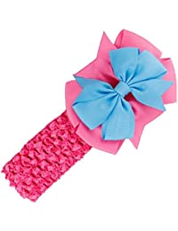 Rose Red : SODIAL(R) Headbands Bowknot Hair Accessories Girl Toddler Hair Band (rose Red)