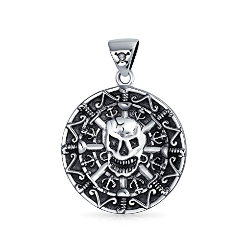 Bling Jewelry Azteken Pirat Totenkopf Medaillon Sterling Silber Anhänger