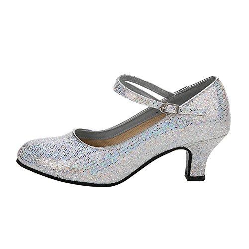BOZEVON Damen Modern Reizvoller Funkelnde Glitzer Heels Lateinische Tanzschuhe, Silber, CN 40 (Fußlänge: 25 cm), Ferse 5.5 cm